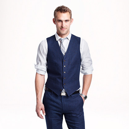 Ludlow suit vest in délavé Italian linen