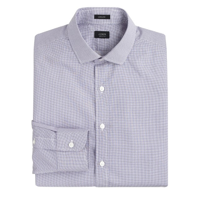 Ludlow spread-collar shirt in square dot print