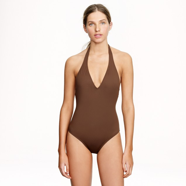 Italian matte deep V-neck one-piece swimsuit