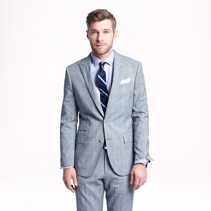 Ludlow suit jacket in glen plaid Italian wool-linen