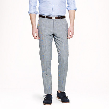 Ludlow slim suit pant in glen plaid Italian wool-linen