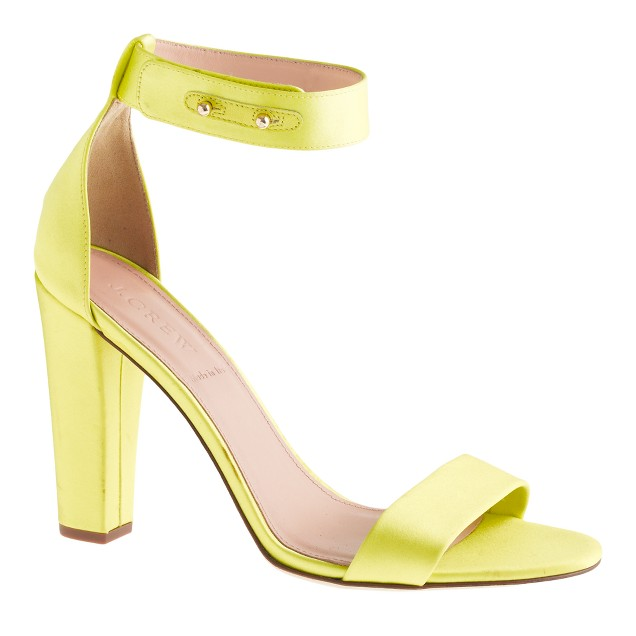 Lanie satin stacked-heel sandals