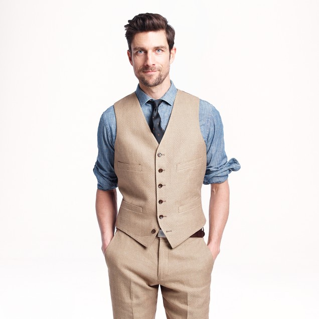Ludlow suit vest in Italian linen-cotton