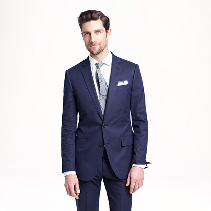 Ludlow suit jacket in dotted indigo Italian cotton