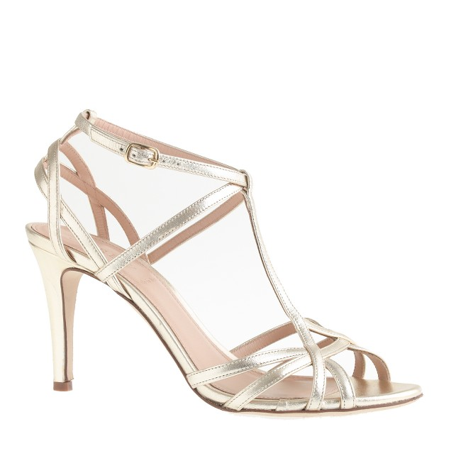 Mirror metallic caged sandals