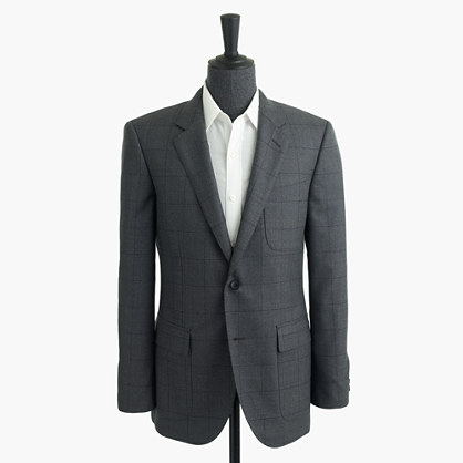 Ludlow fielding suit jacket in windowpane English spring wool