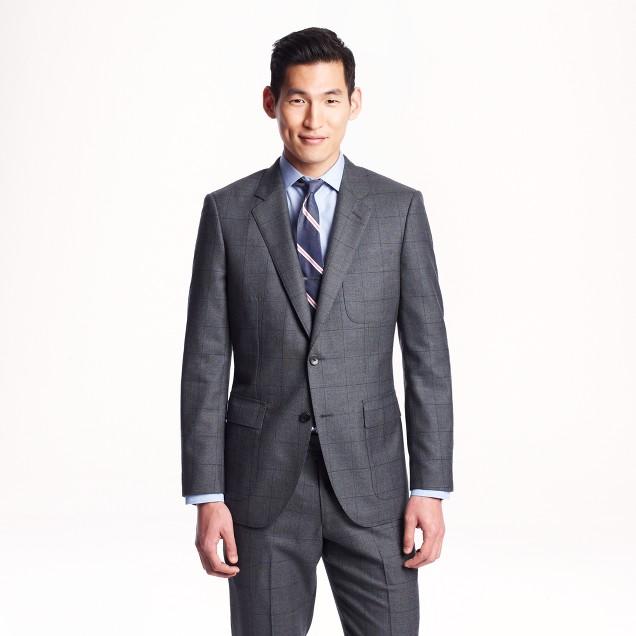 Ludlow fielding suit jacket in windowpane English spring wool
