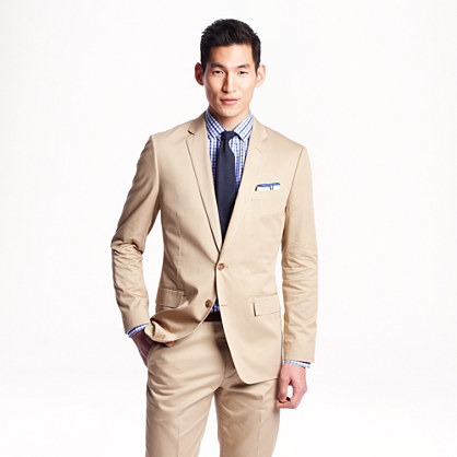 Ludlow suit jacket with center vent in Italian chino