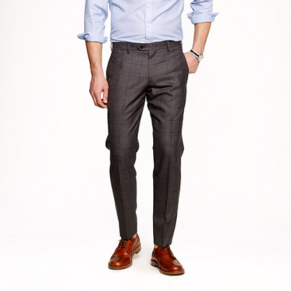Ludlow slim suit pant in windowpane English spring wool