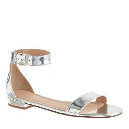 Maya mirror metallic ankle-strap sandals
