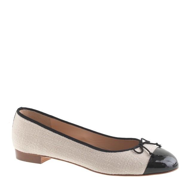 Kiki linen cap toe ballet flats