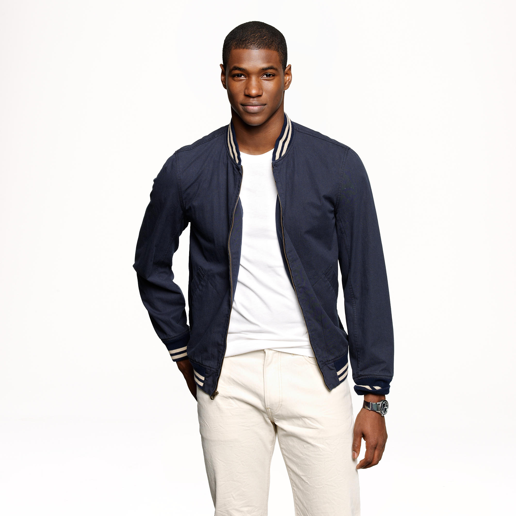 Wallace &amp Barnes Baseball bomber jacket in Japanese cotton : Men