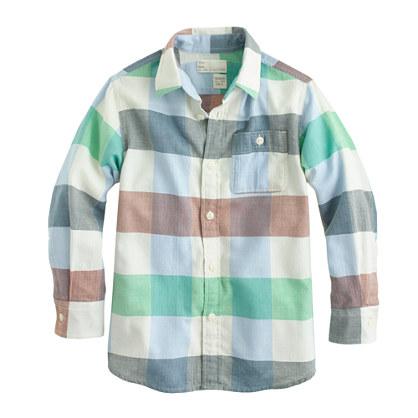 Boys' brushed cotton shirt in herringbone plaid