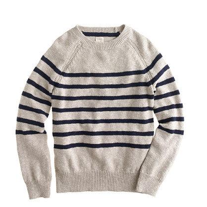 Boys' slub raglan sweater in stripe