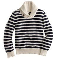 Boys' stripe shawl-collar sweater