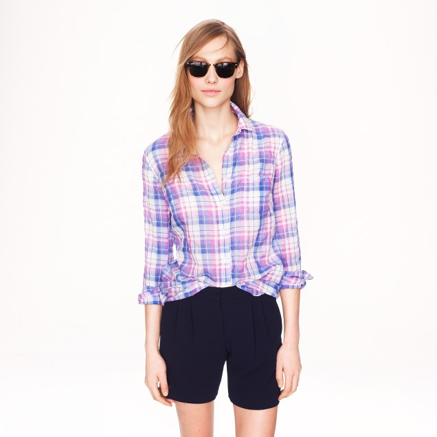 Crinkle boy shirt in orchid plaid