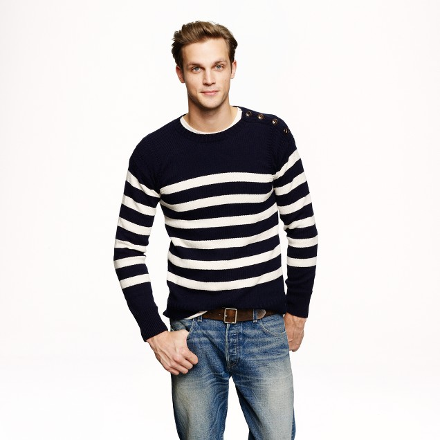 Wallace & Barnes shoulder-button sweater in nautical stripe