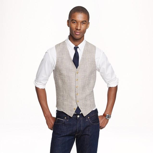 Ludlow vest in khaki glen plaid Italian linen