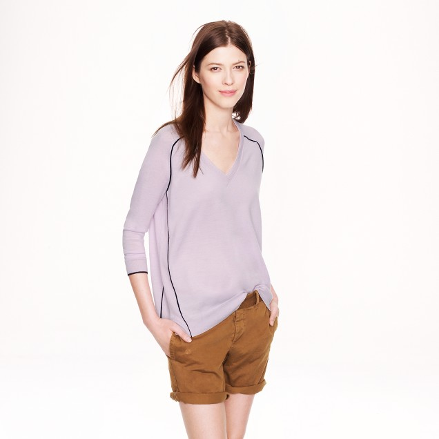 Merino wool tipped side-panel V-neck sweater