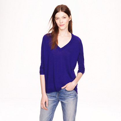 Merino wool side-panel V-neck sweater