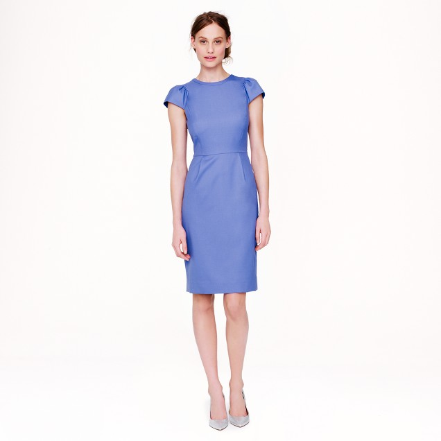 Puff-sleeve dress in Super 120s