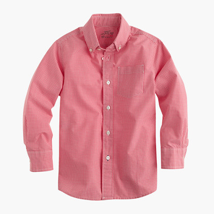 Boys' secret wash shirt in red mini-gingham