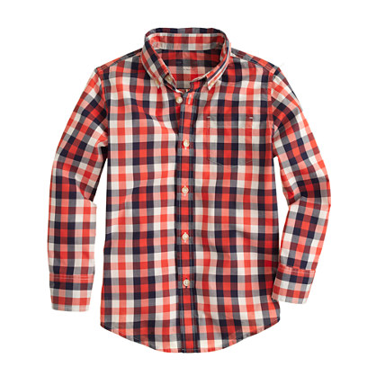 Boys' Secret Wash shirt in two-tone check