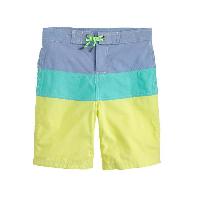 Boys' oxford cloth board short in colorblock stripe