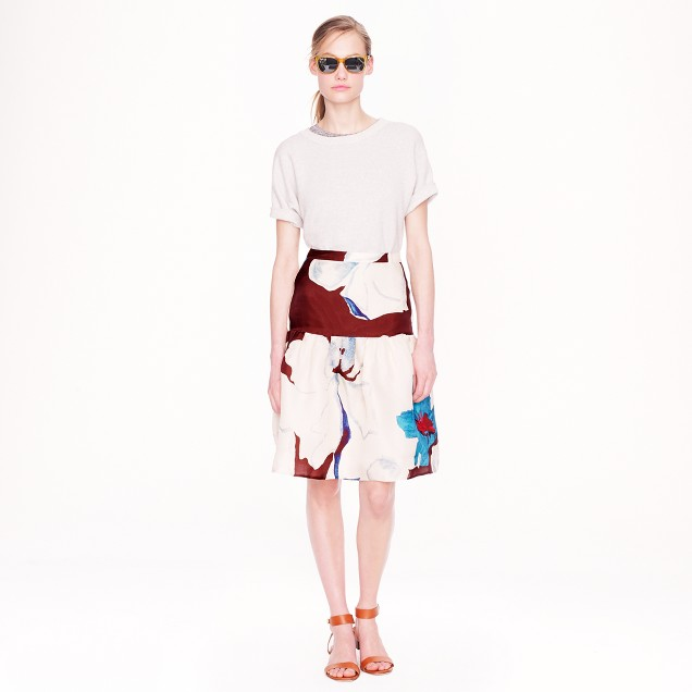 Collection silk skirt in overblown floral