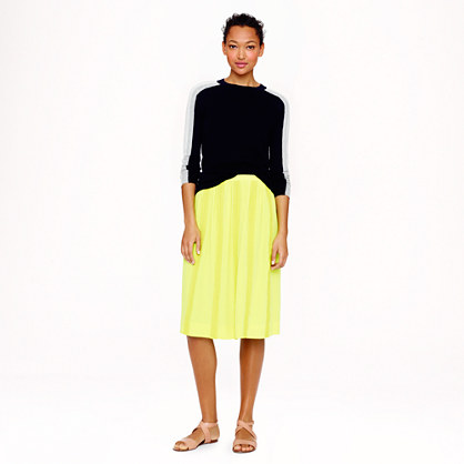 Collection lace-stripe silk skirt