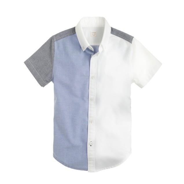Boys' short-sleeve oxford cloth shirt in colorblock
