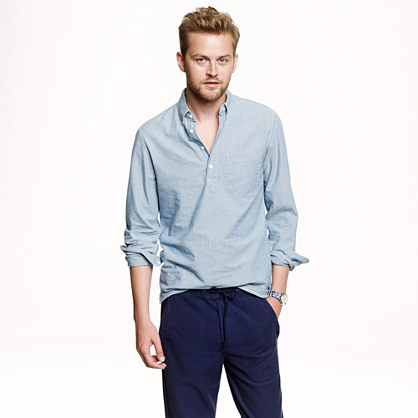 Japanese chambray popover shirt