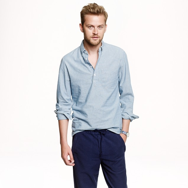 Japanese chambray popover shirt