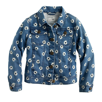 Girls' denim jacket in daisy print
