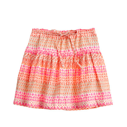 Girls' tie-waist skirt in geometric floral