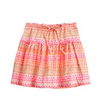 Girls' tie-waist skirt in geometric floral