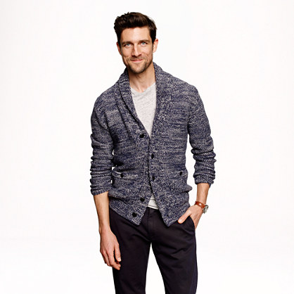 Marled cotton shawl-collar cardigan