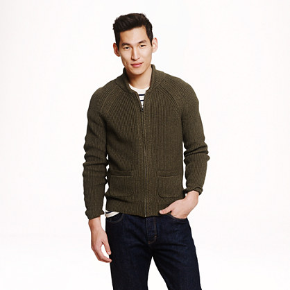 Rustic cotton full-zip sweater