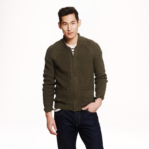 Rustic cotton full-zip sweater