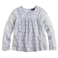 Liberty mixed-floral pleated top in lavender