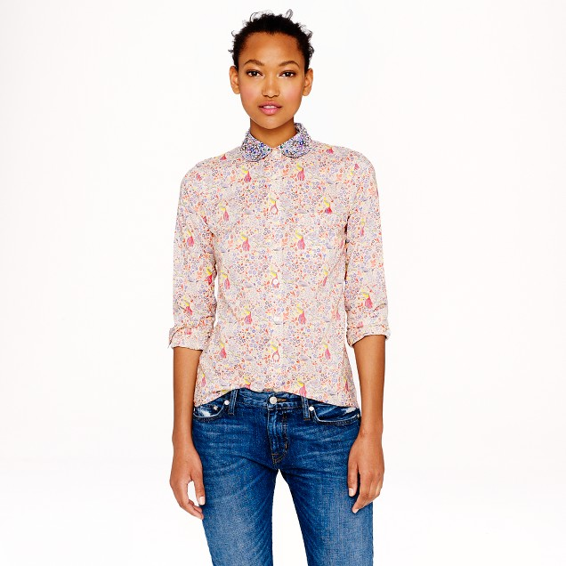 Jeweled-collar shirt in Liberty Juno's garden