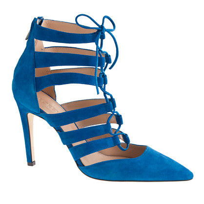 Suede lace-up cage pumps