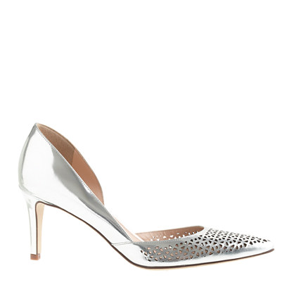 Valentina perforated mirror metallic pumps