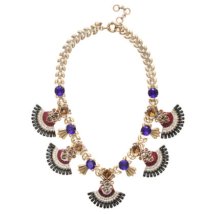 Jeweled fan necklace