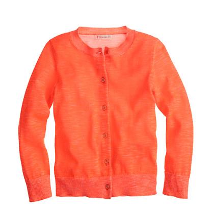 Girls' Caroline cardigan sweater in plaited neon