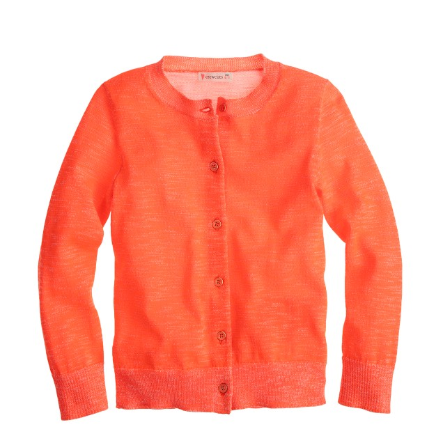 Girls' Caroline cardigan sweater in plaited neon