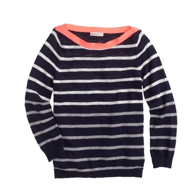 Girls' stripe boatneck sweater