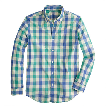 Lightweight shirt in porcelain green tattersall