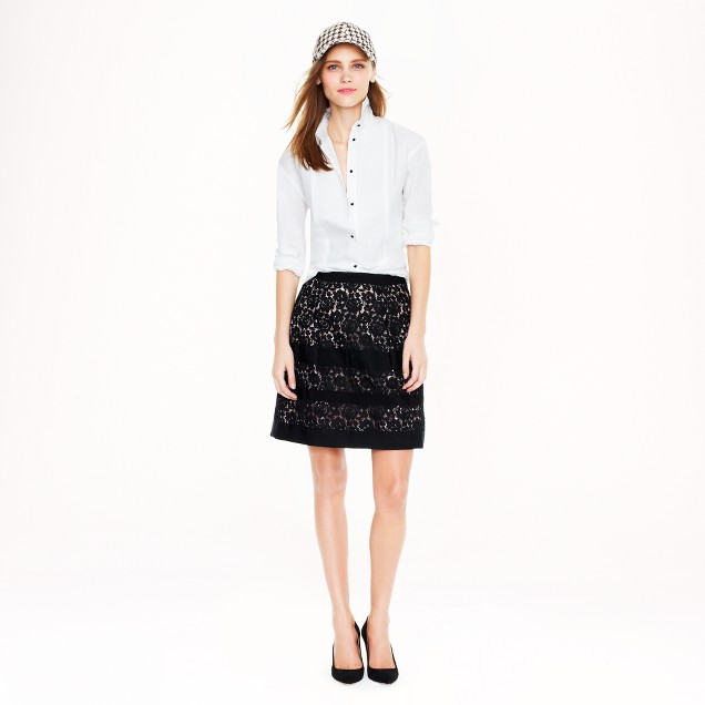Floral lace stripe skirt