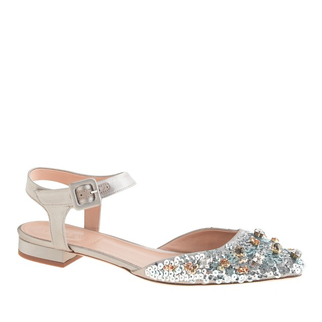 Collection jeweled satin ankle-strap flats